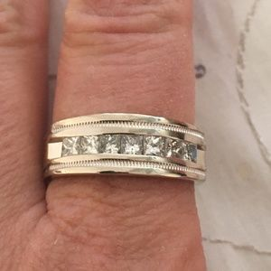 Other - 14K White Gold Men's Diamond Band Ring Size 9.5